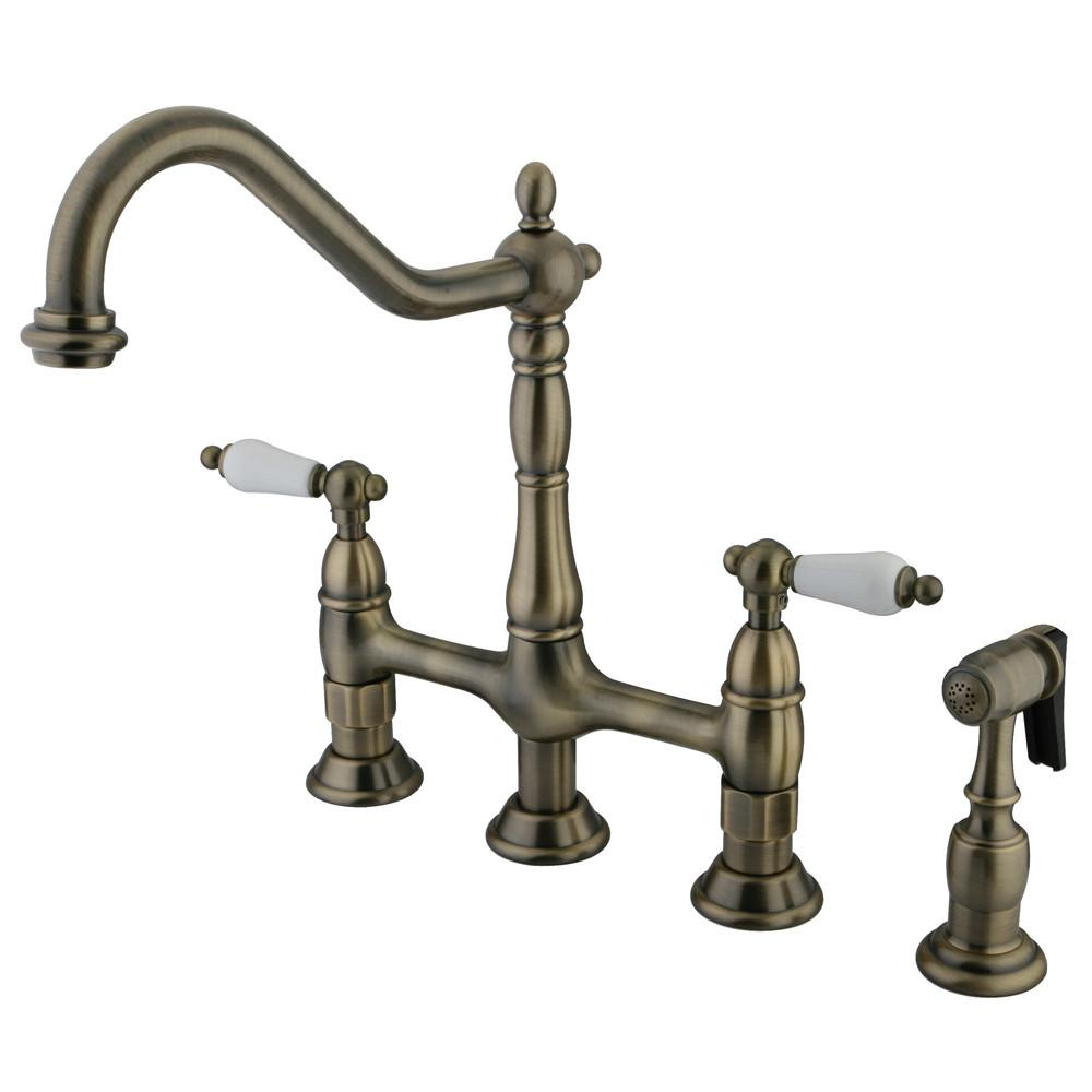 "Kingston Vintage Brass 8"" Centerset Kitchen Faucet With Side Sprayer KS1273PLBS"