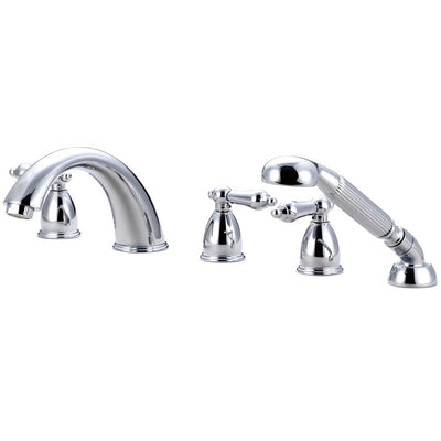 Kingston Brass Chrome Roman Tub Filler Faucet with Sprayer KS13615AL