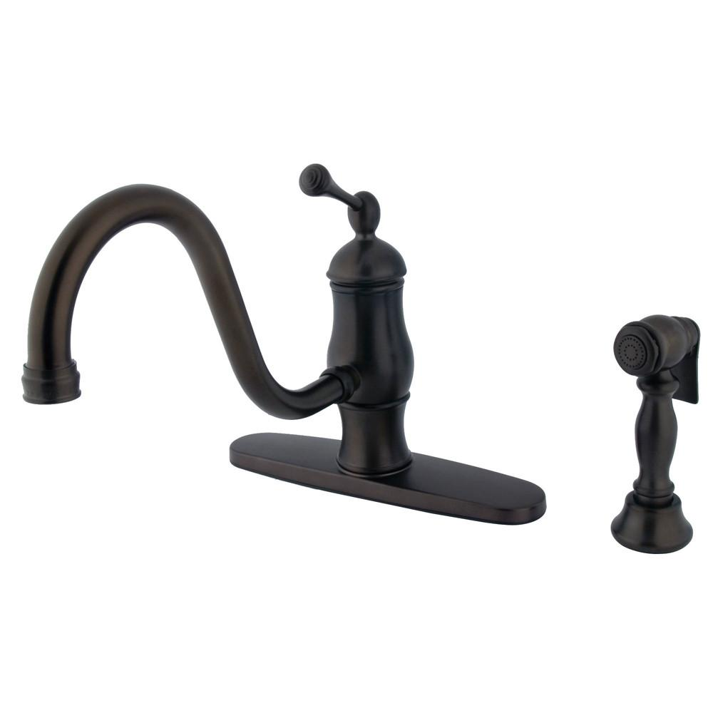 Oil Rubbed Bronze Single Handle Centerset Kitchen Faucet w spray KS1575BLBS