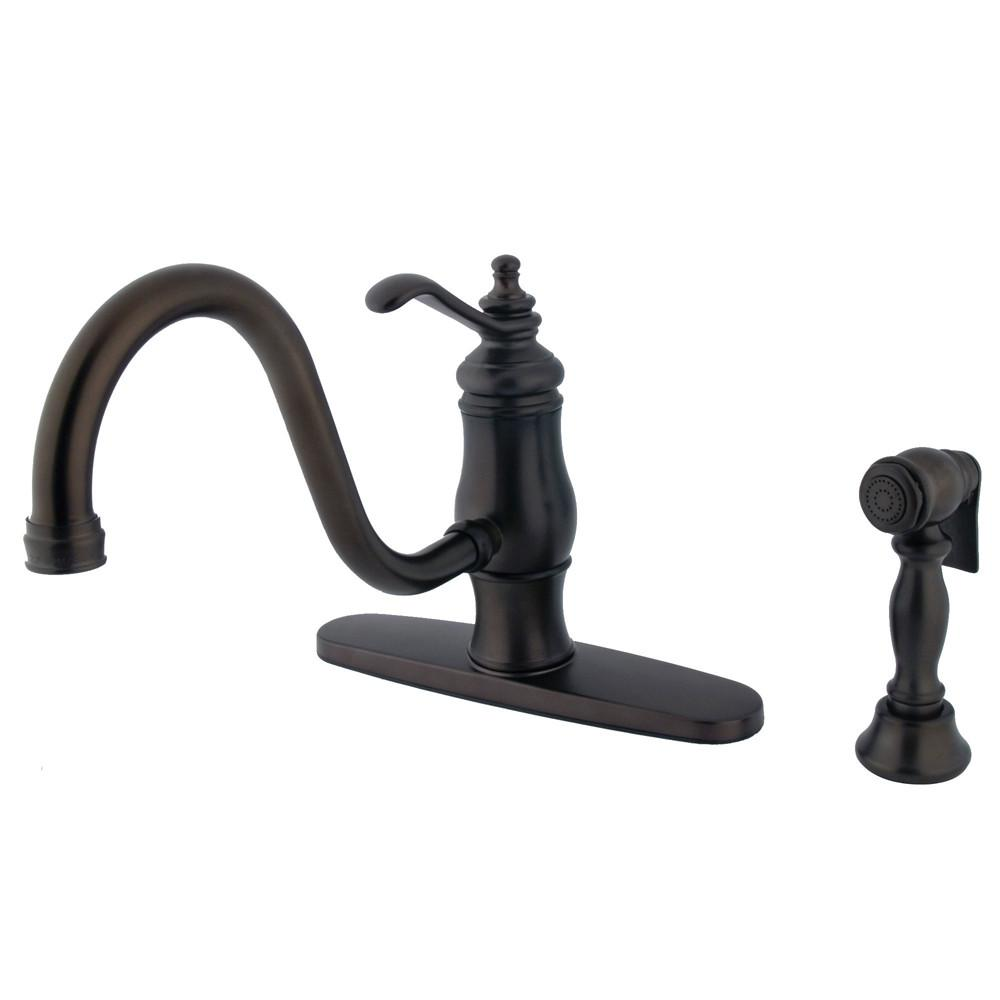 Oil Rubbed Bronze Single Handle Centerset Kitchen Faucet w spray KS1575TLBS