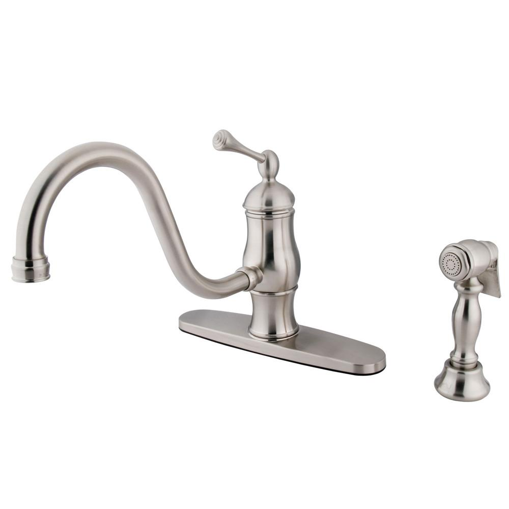 "Satin Nickel Single Handle 8"" Centerset Kitchen Faucet w sprayer KS1578BLBS"