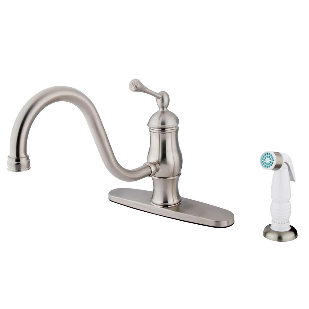 "Satin Nickel Single Handle 8"" Centerset Kitchen Faucet w sprayer KS1578BL"