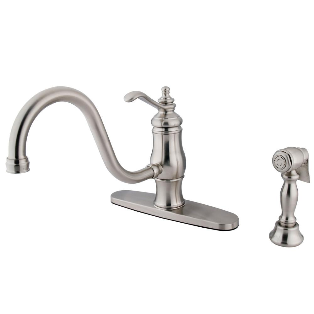 "Satin Nickel Single Handle 8"" Centerset Kitchen Faucet w sprayer KS1578TLBS"