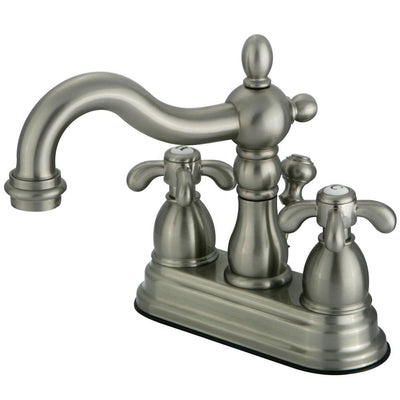 "Kingston Satin Nickel French Country 4"" Center Set Bathroom Faucet KS1608TX"