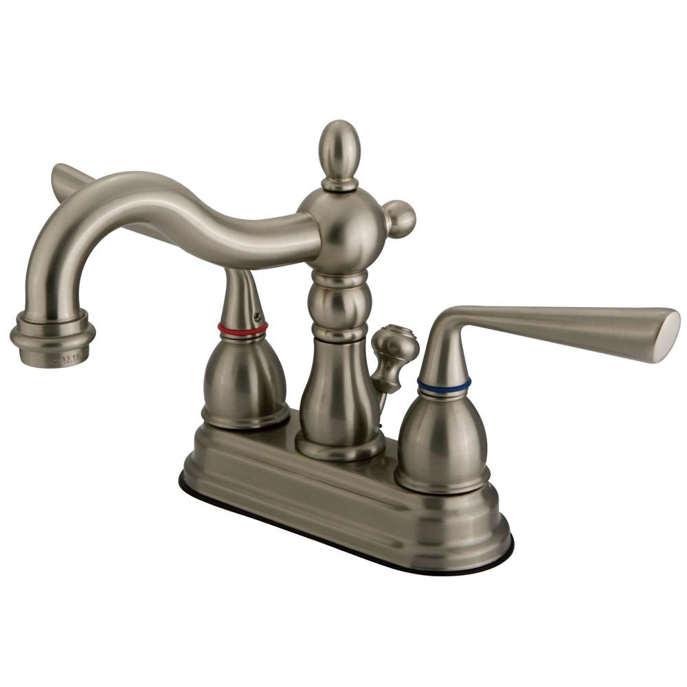 "Kingston Silver Sage Satin Nickel 4"" Centerset Bathroom Faucet W/Pop-Up KS1608ZL"