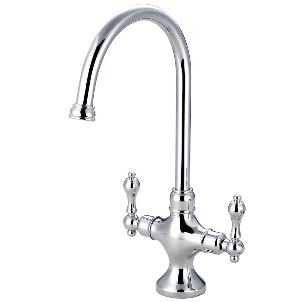 Kingston Brass Chrome 2 Handle Single Hole Kitchen Faucet Ks1761alls