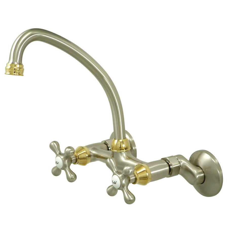 wall mount kitchen faucets get a wall mounted kitchen sink cross handle satin nickel polished brass wall mount kitchen faucet ks214snpb