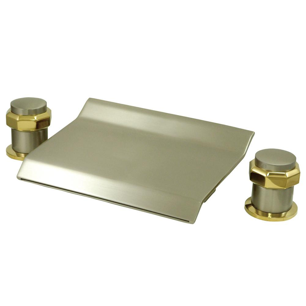 Satin Nickel / Polished Brass Waterfall Roman Tub Filler Faucet KS2249AR