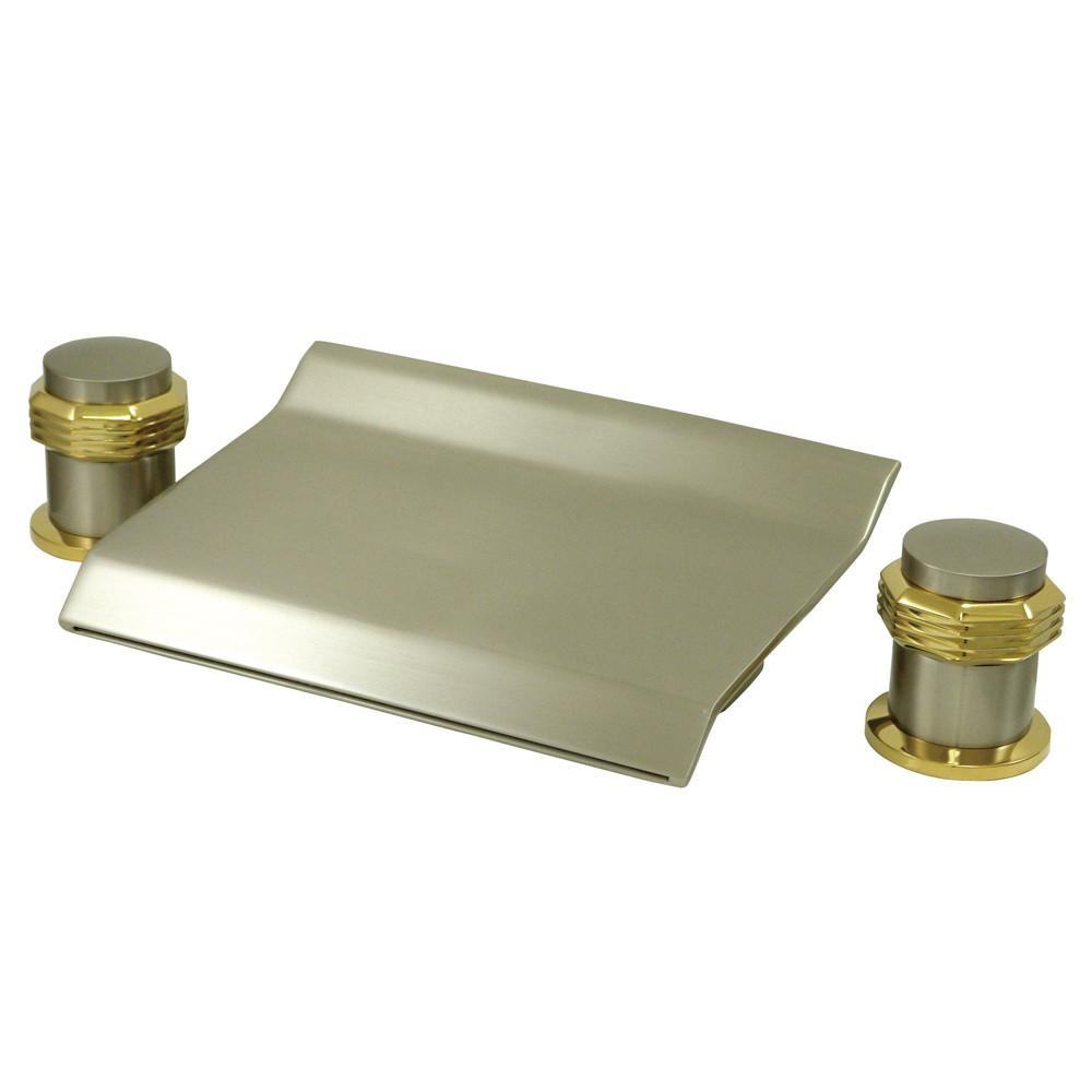 Satin Nickel / Polished Brass Waterfall Roman Tub Filler Faucet KS2249MR