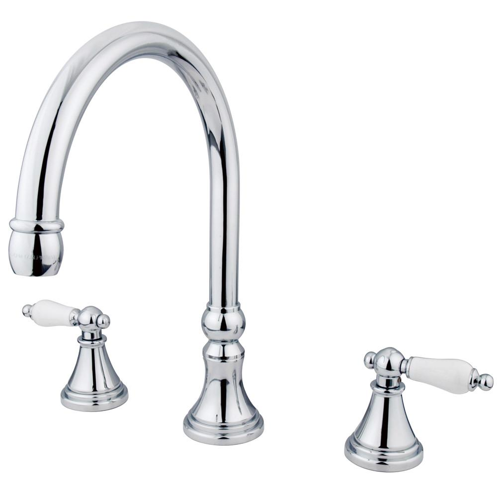 Kingston Brass Chrome Two Handle Roman Tub Filler Faucet KS2341PL