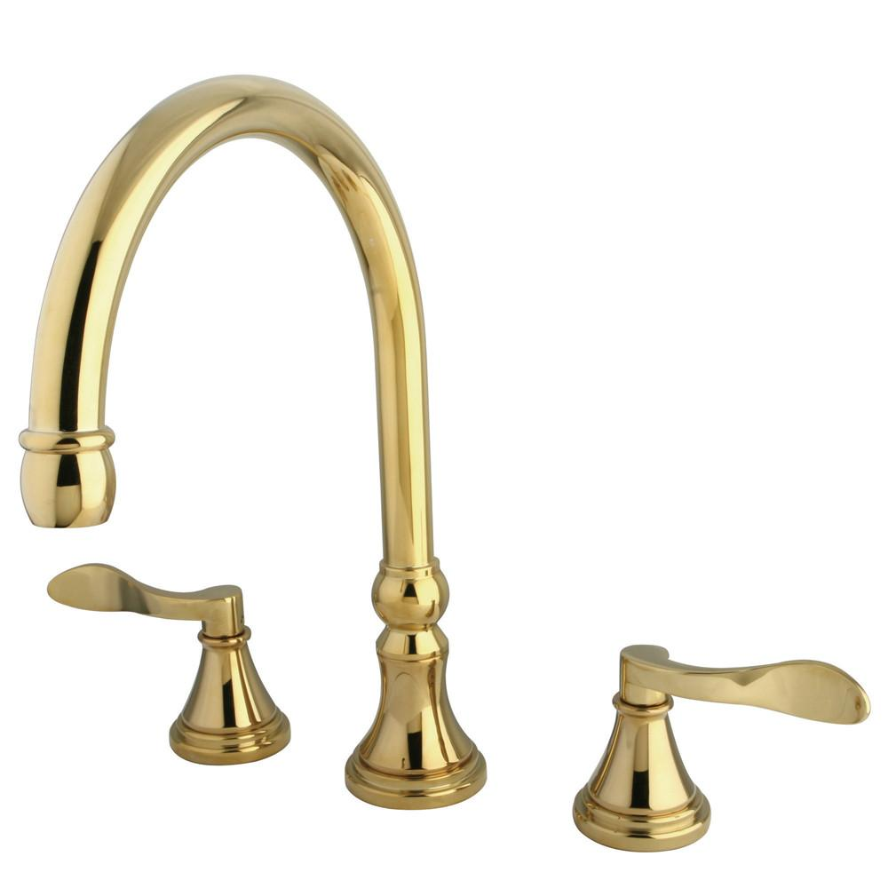 Kingston Polished Brass NuFrench bathroom roman tub filler faucet KS2342DFL