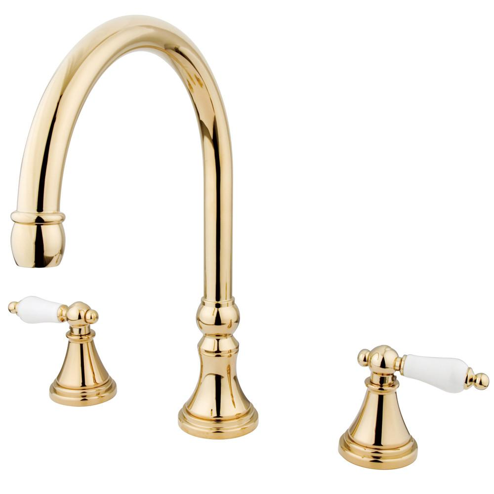 Kingston Brass Polished Brass Two Handle Roman Tub Filler Faucet KS2342PL