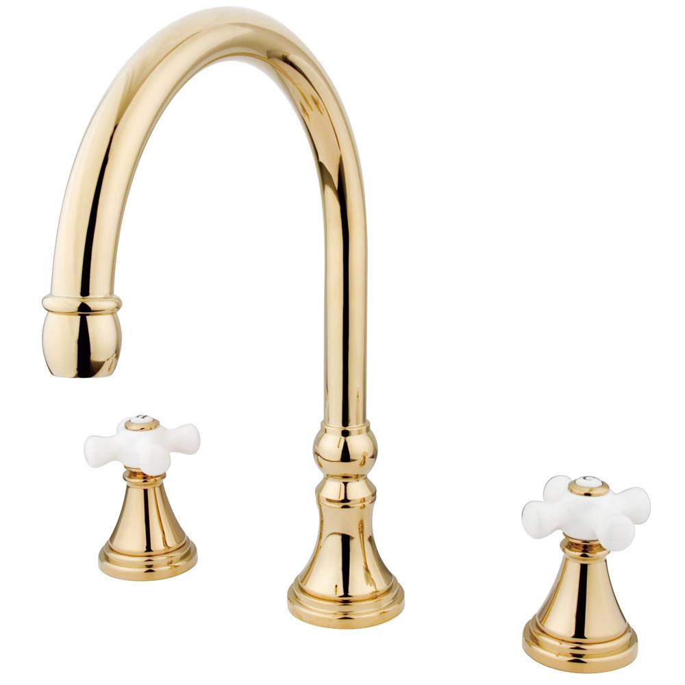 Kingston Brass Polished Brass Two Handle Roman Tub Filler Faucet KS2342PX