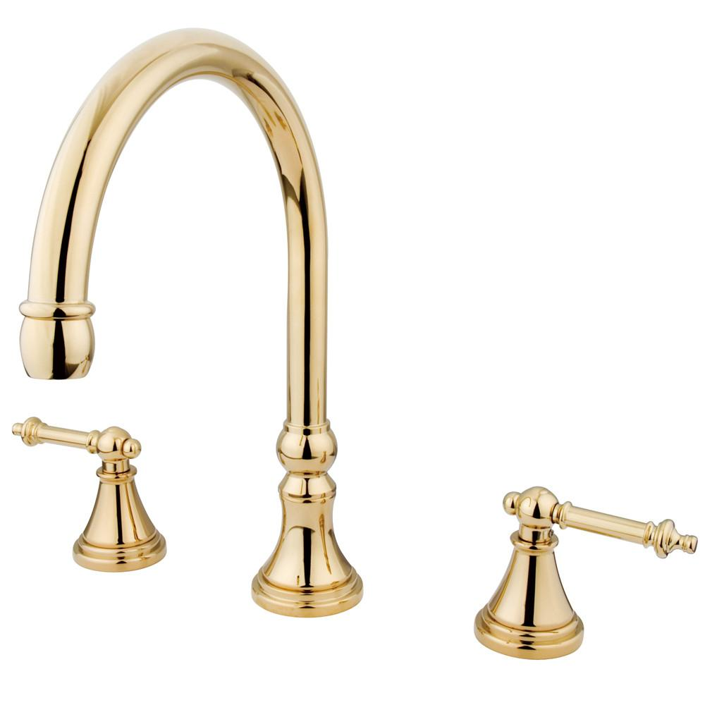 Kingston Polished Brass Tuscany Two Handle Roman Tub Filler Faucet KS2342TL