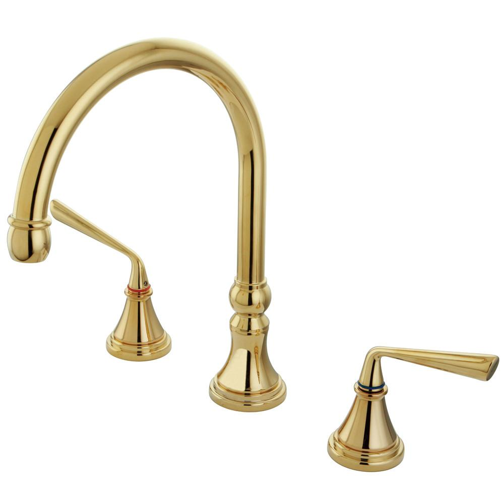 Kingston Silver Sage Polished Brass Bathroom Roman Tub Filler Faucet KS2342ZL