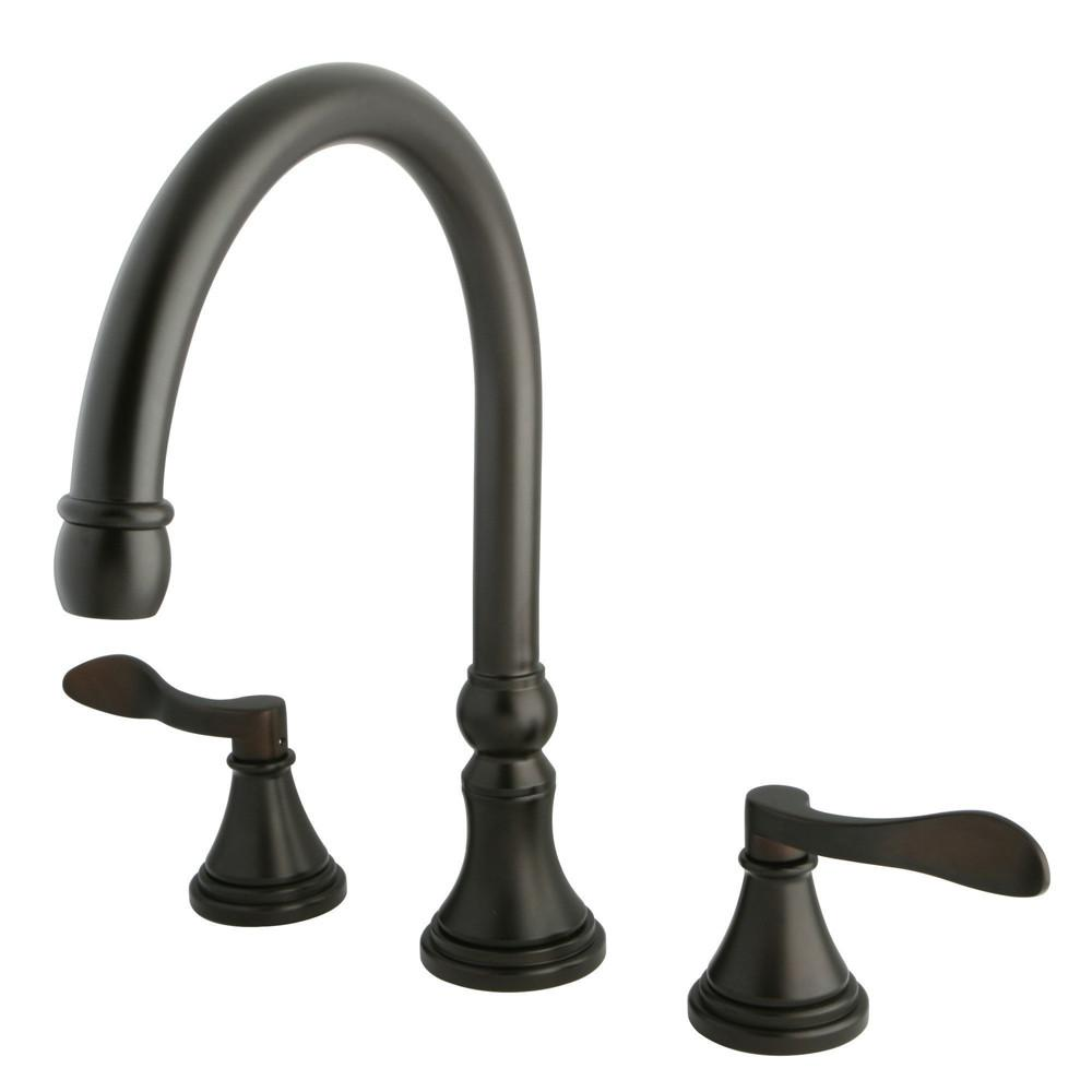 Kingston Oil Rubbed Bronze NuFrench bathroom roman tub filler faucet KS2345DFL