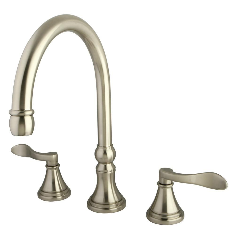 Kingston Brass Satin Nickel NuFrench bathroom roman tub filler faucet KS2348DFL
