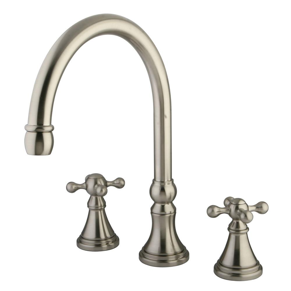 Kingston Brass Satin Nickel Two Handle Roman Tub Filler Faucet KS2348KX