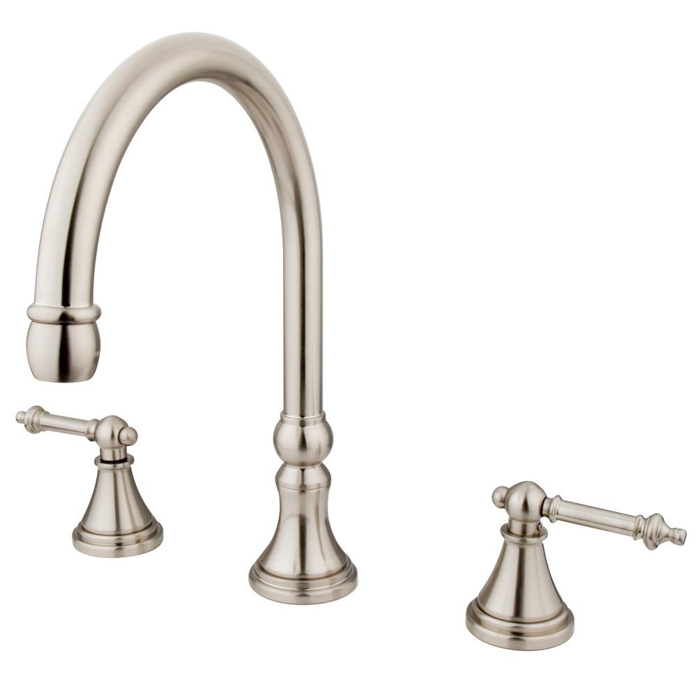 Kingston Brass Satin Nickel Tuscany Two Handle Roman Tub Filler Faucet KS2348TL