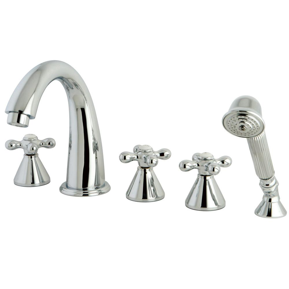 Chrome Roman Three Handle Roman Tub Filler Faucet w Hand Shower KS23615AX