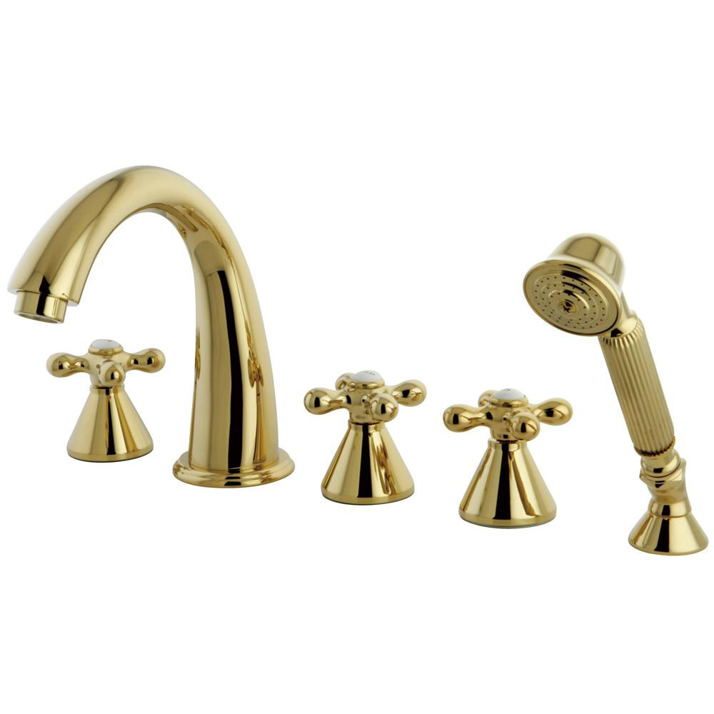 Polished Brass 3 handle Roman Tub Filler Faucet w Hand Shower KS23625AX