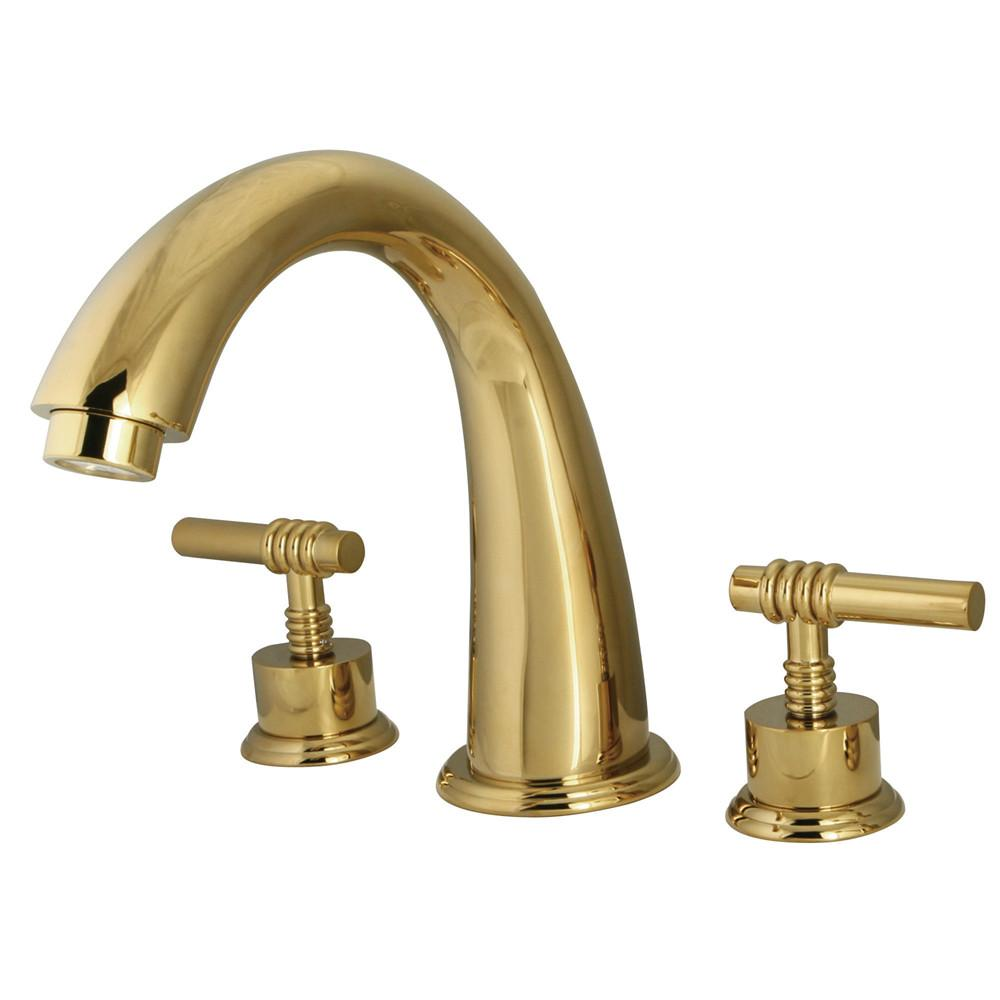 Kingston Brass Polished Brass Milano Two Handle Roman Tub Filler Faucet KS2362ML