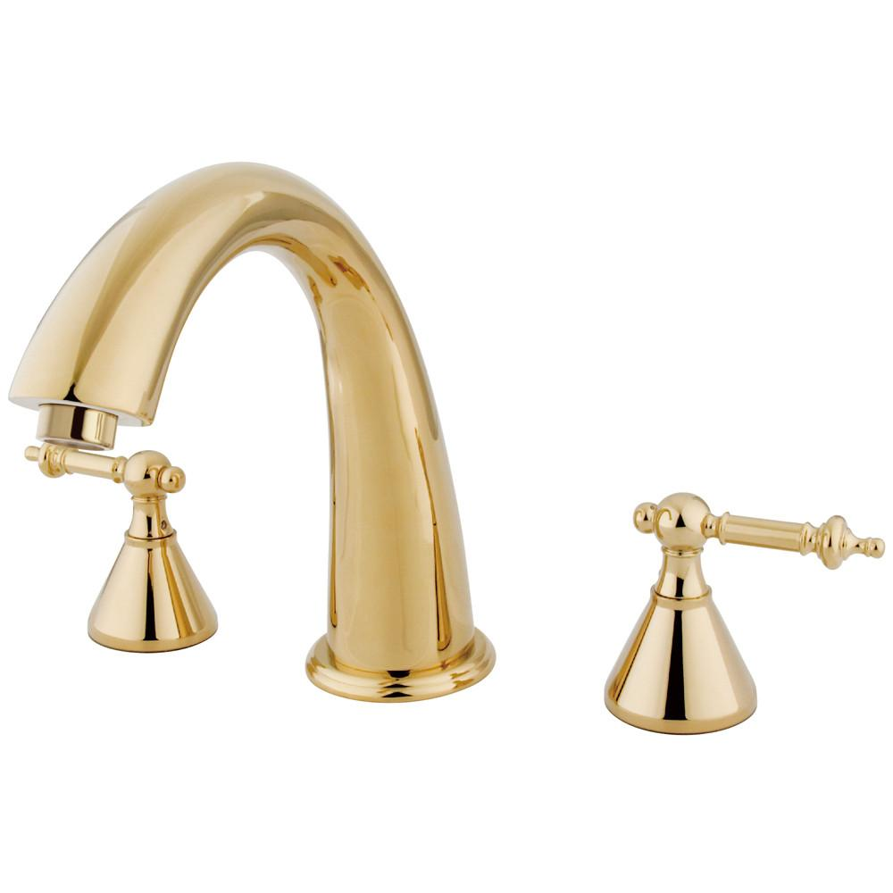 Kingston Brass Polished Brass Two Handle Roman Tub Filler Faucet KS2362TL