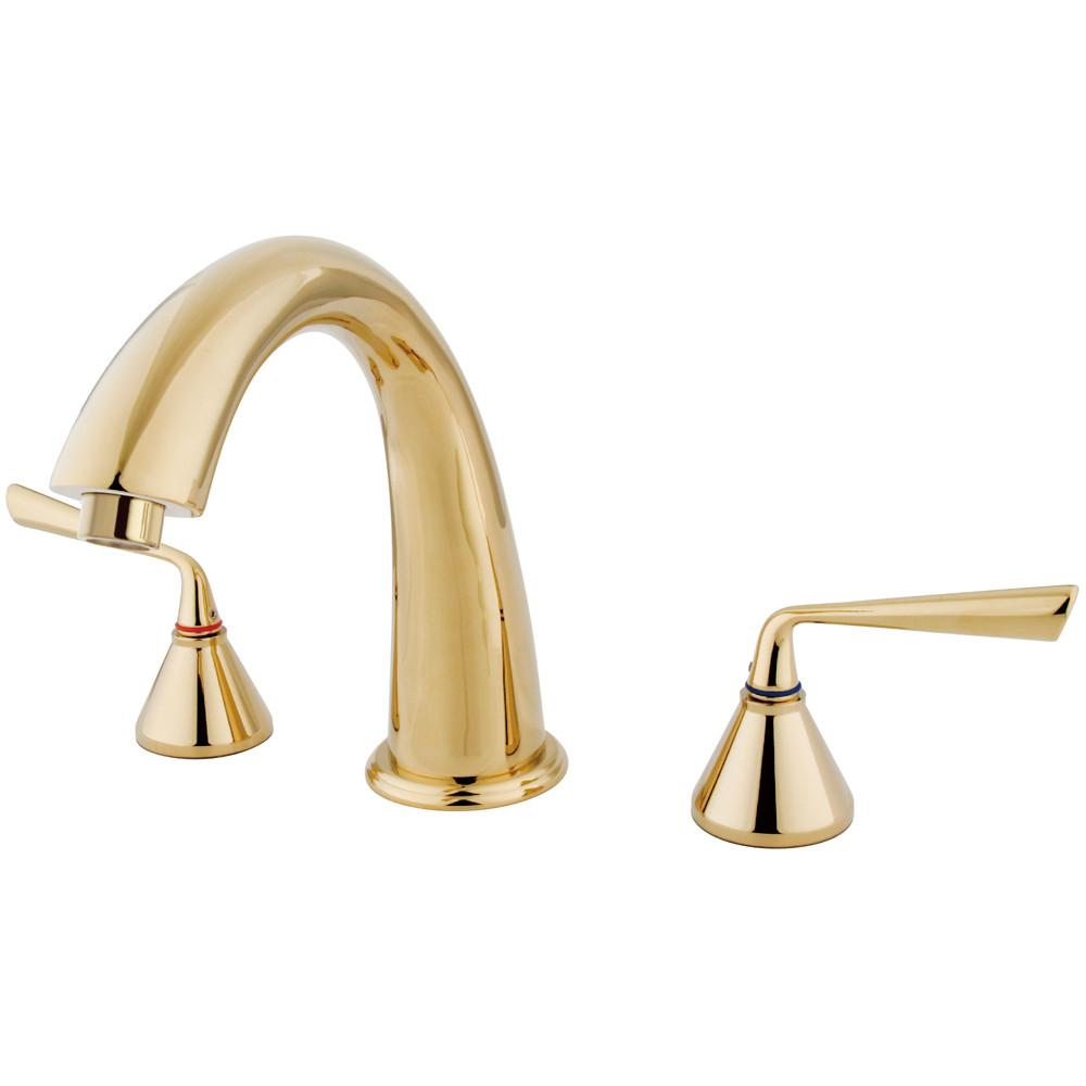 Kingston Silver Sage Polished Brass Bathroom Roman Tub Filler Faucet KS2362ZL