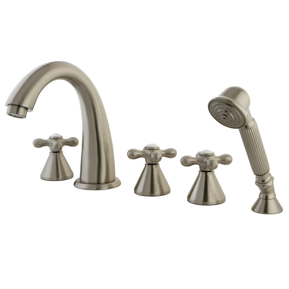 Satin Nickel 3 handle Roman Tub Filler Faucet with Hand Shower KS23685AX