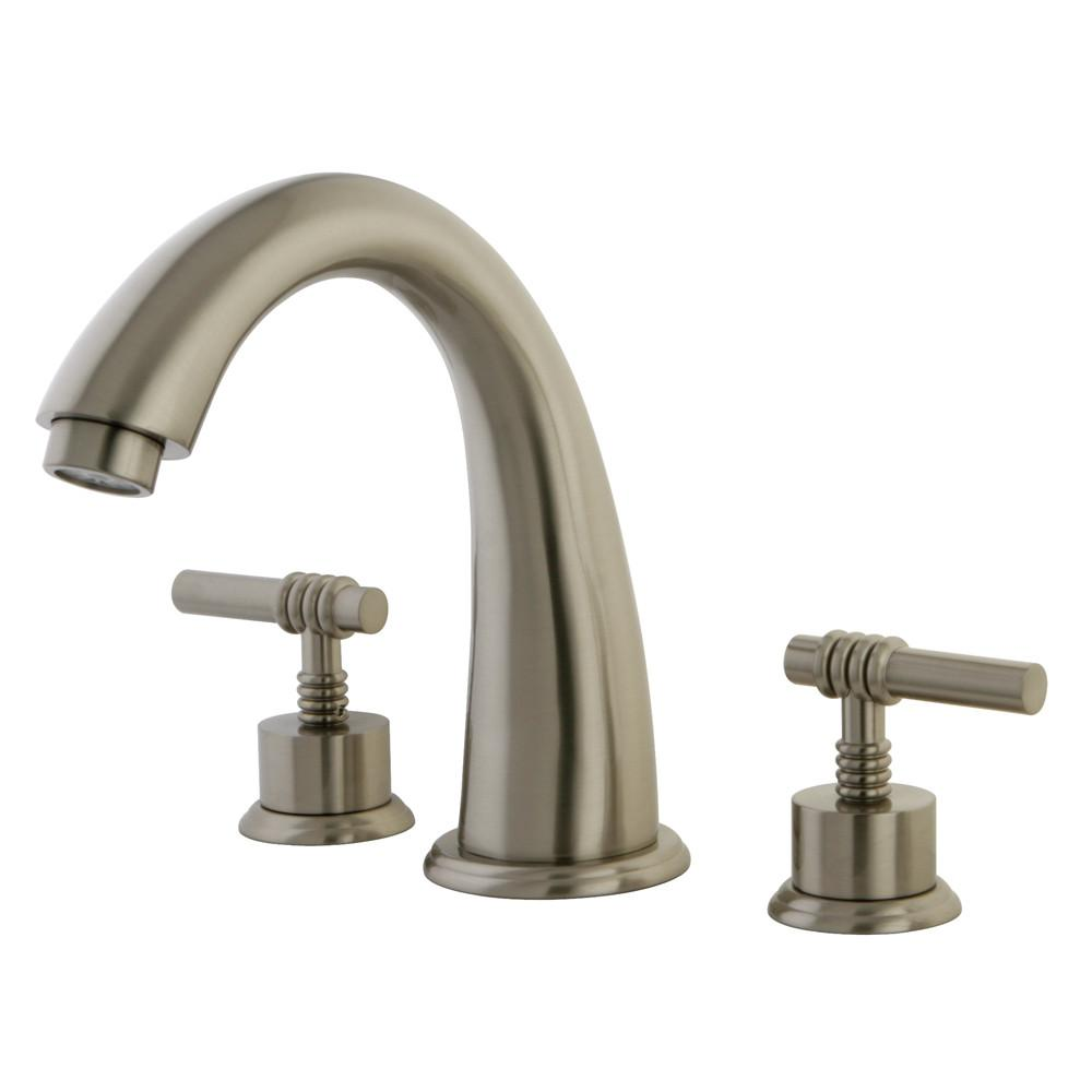 Kingston Brass Satin Nickel Milano Two Handle Roman Tub Filler Faucet KS2368ML