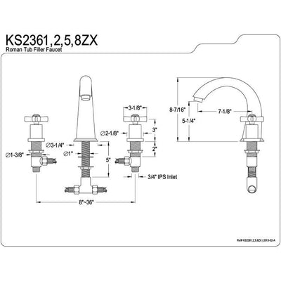 Kingston Brass KS2368ZX 2 Handle Roman Tub Filler Satin Nickel