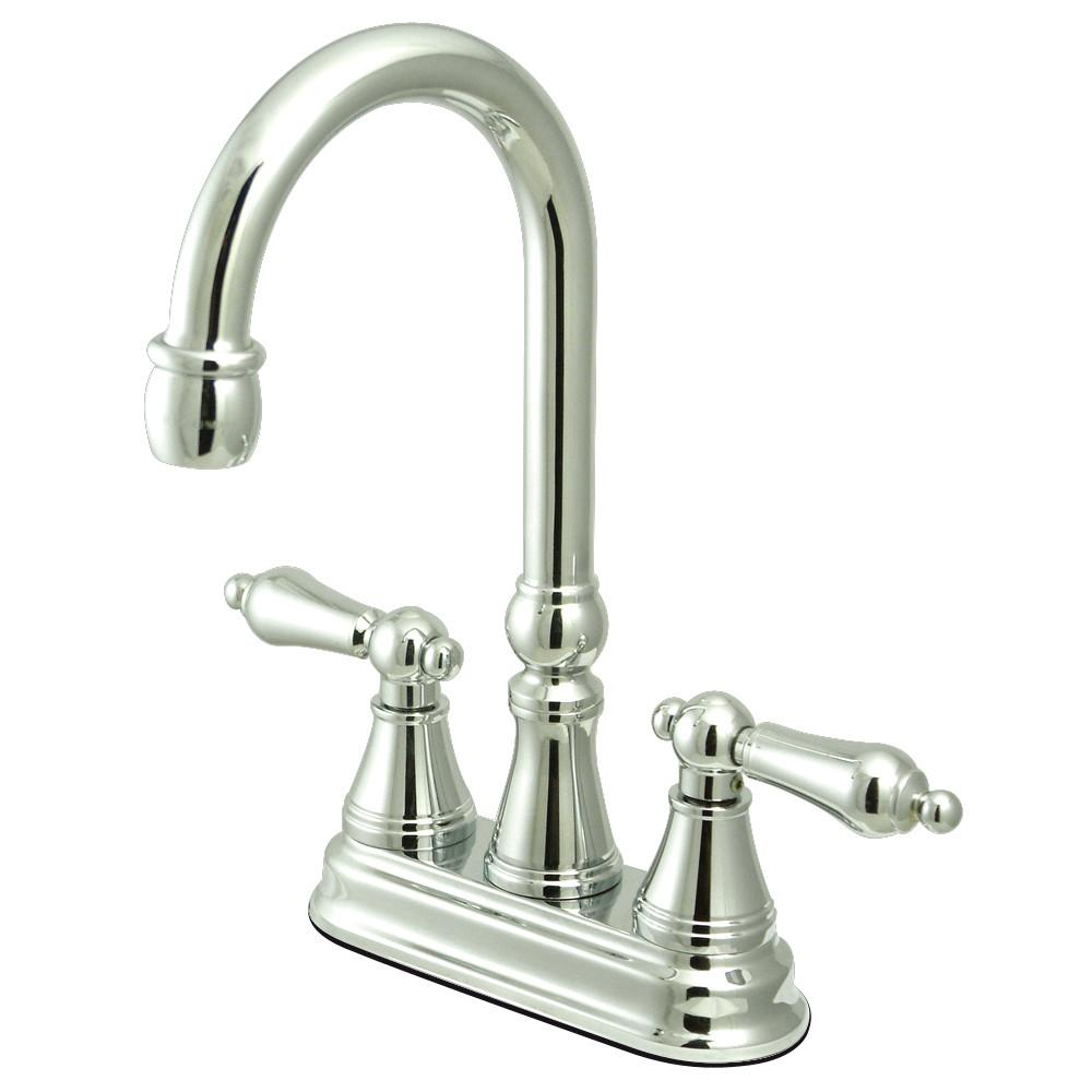 "Kingston Brass Chrome Two Handle 4"" Centerset Bar Prep Sink Faucet KS2491AL"