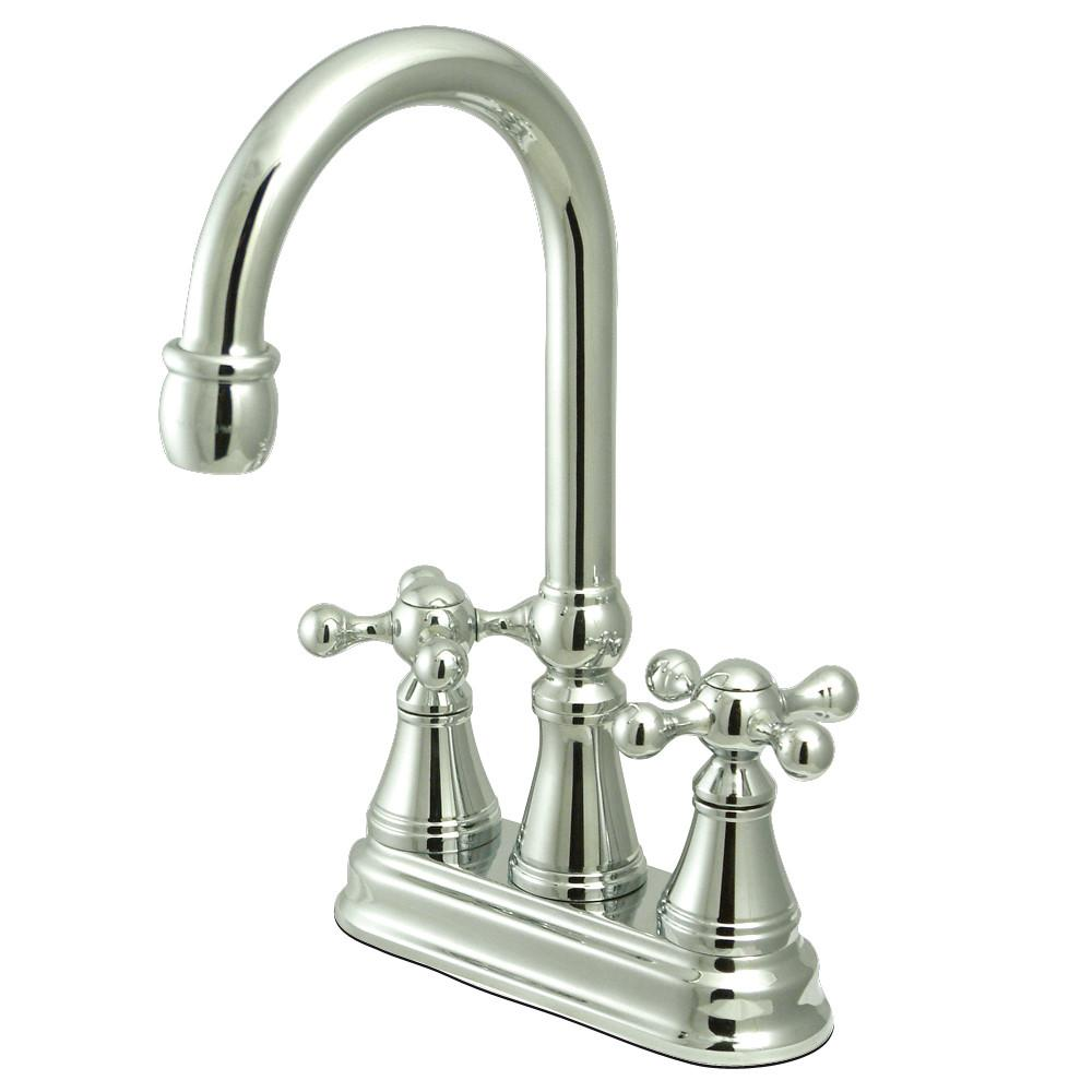 "Kingston Brass Chrome Two Handle 4"" Centerset Bar Prep Sink Faucet KS2491KX"