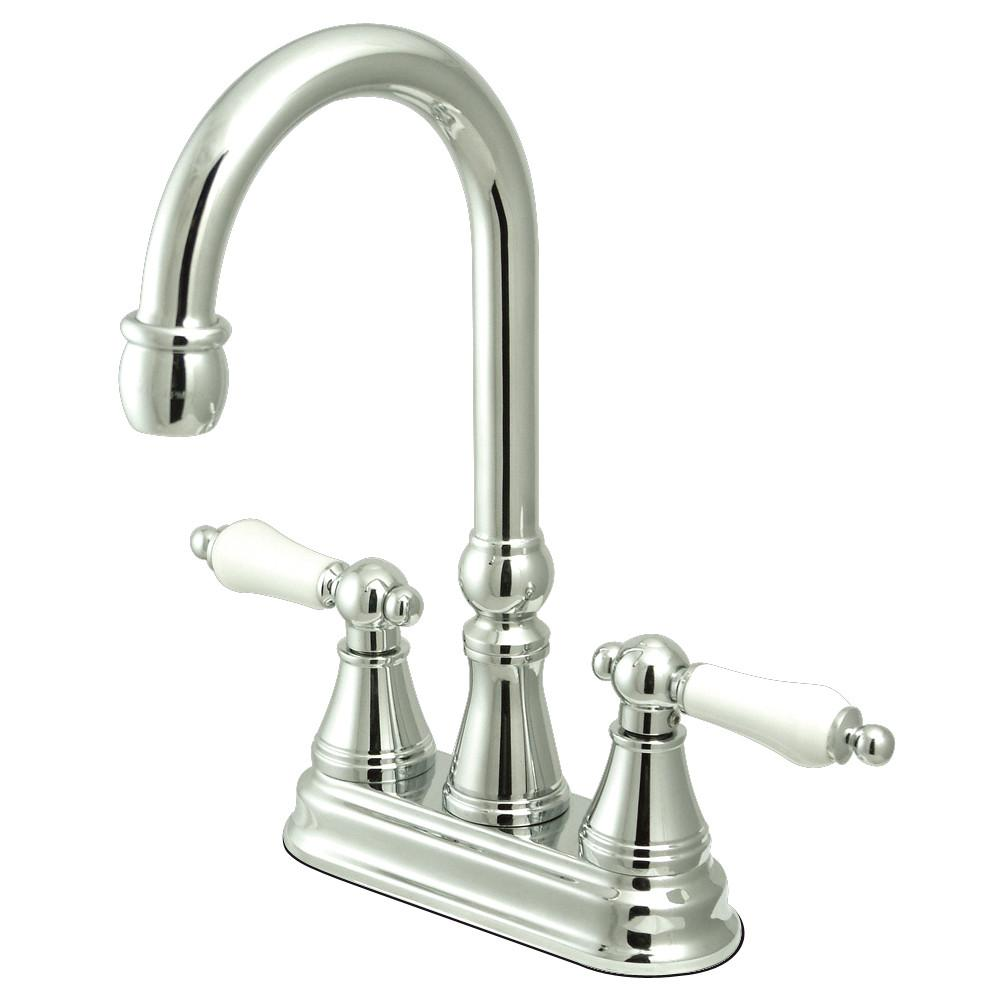 "Kingston Brass Chrome Two Handle 4"" Centerset Bar Prep Sink Faucet KS2491PL"