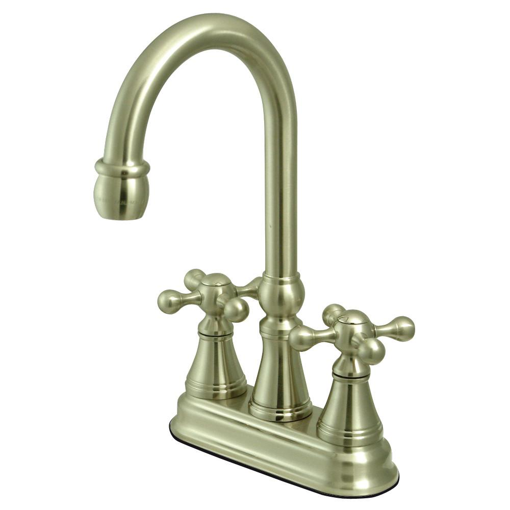 "Kingston Satin Nickel Two Handle 4"" Centerset Bar Prep Sink Faucet KS2498KX"