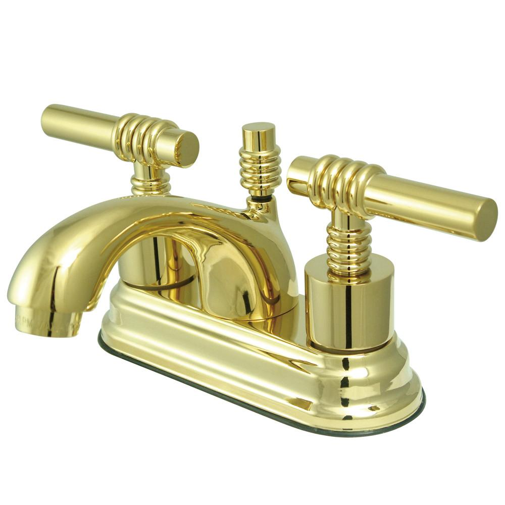 "Kingston Polished Brass 2 Handle 4"" Centerset Bathroom Faucet w Pop-up KS2602ML"
