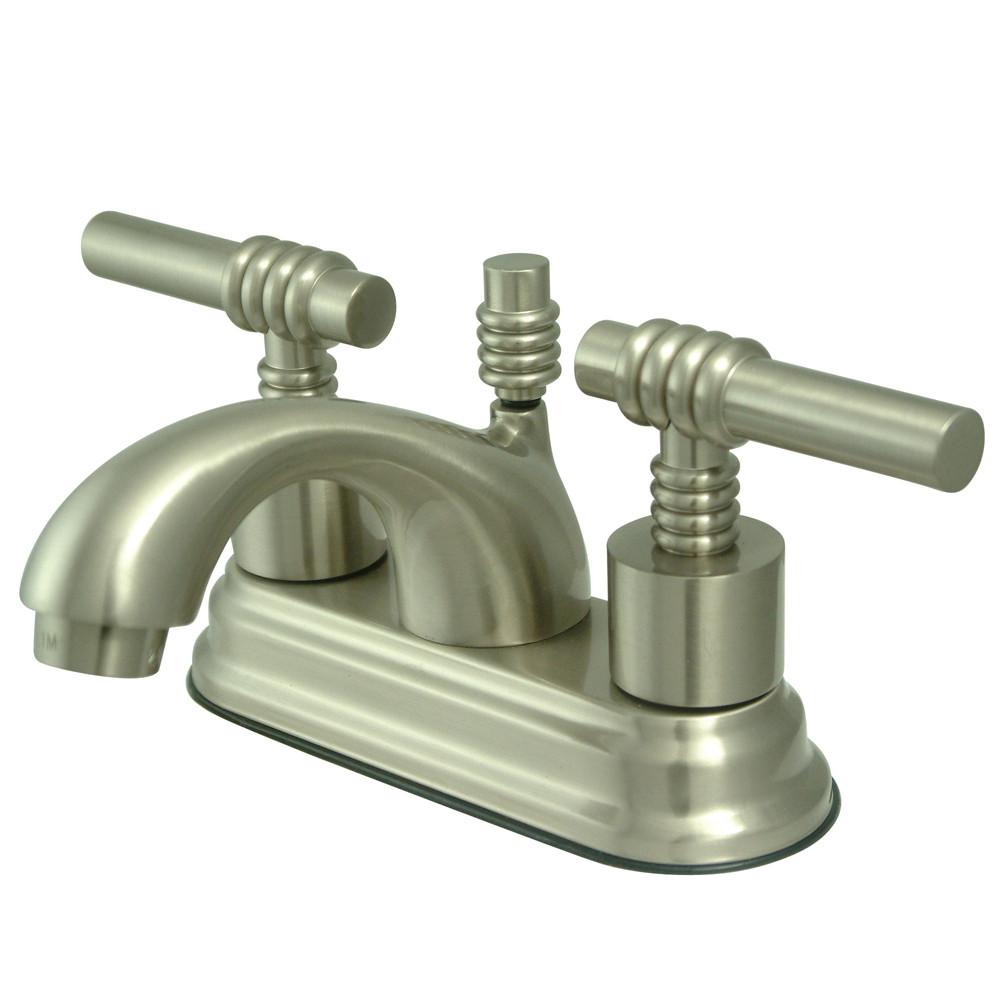 "Kingston Satin Nickel 2 Handle 4"" Centerset Bathroom Faucet w Pop-up KS2608ML"