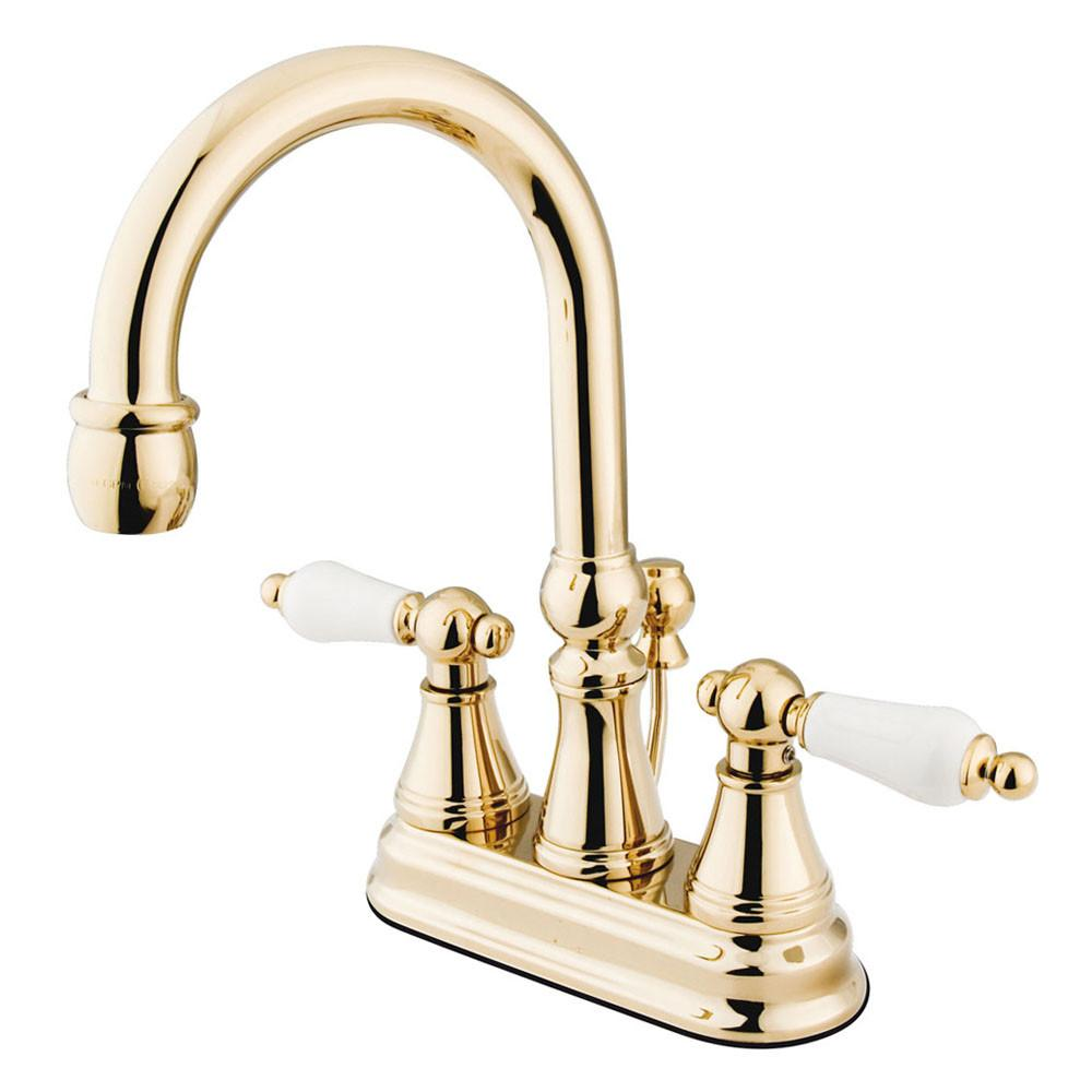 "Kingston Polished Brass 2 Handle 4"" Centerset Bathroom Faucet w Pop-up KS2612PL"