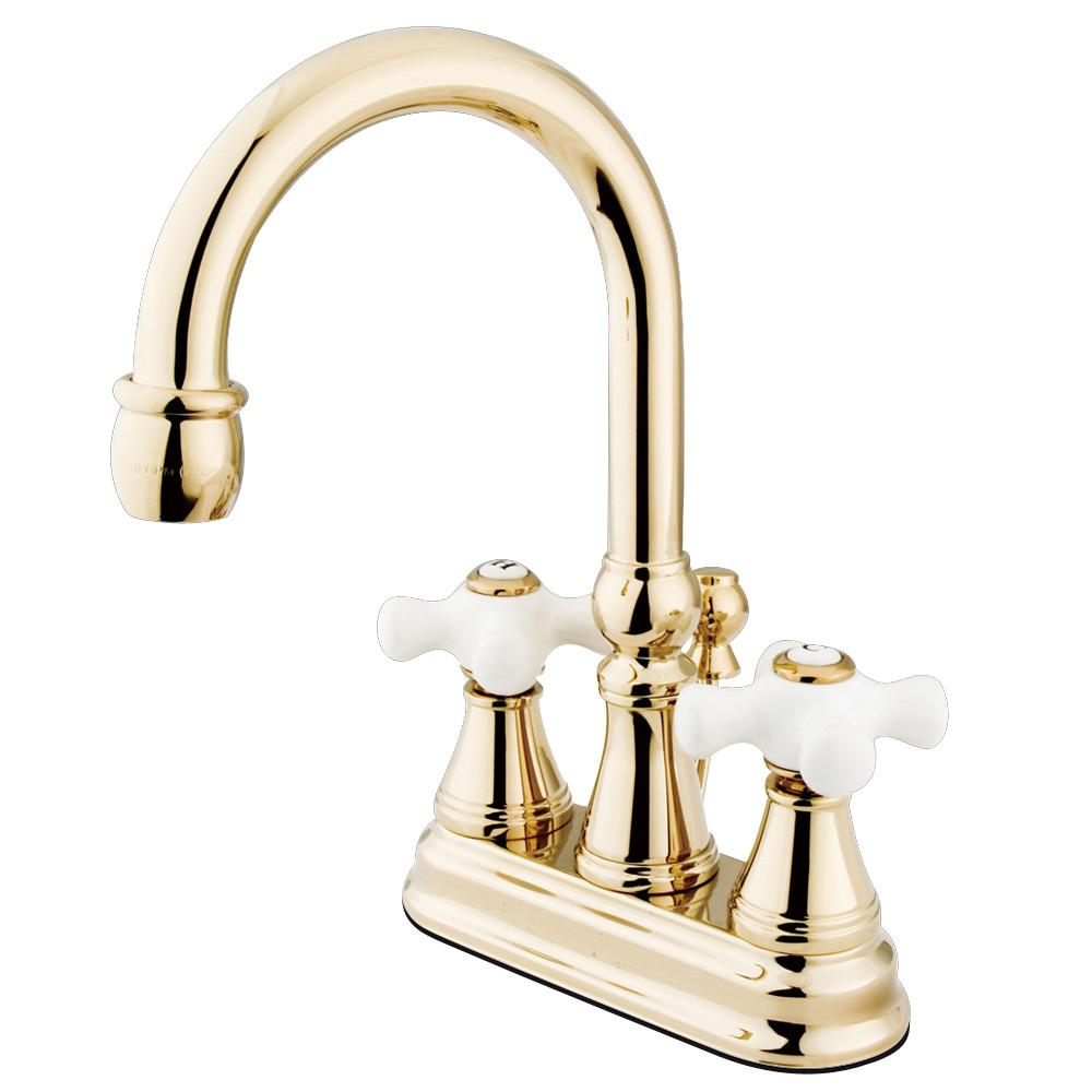 "Kingston Polished Brass 2 Handle 4"" Centerset Bathroom Faucet w Pop-up KS2612PX"