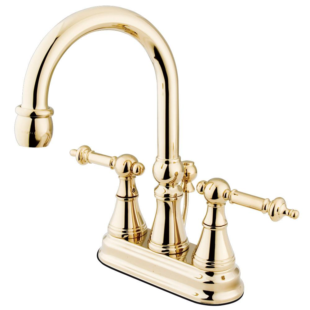 "Kingston Polished Brass 2 Handle 4"" Centerset Bathroom Faucet w Pop-up KS2612TL"