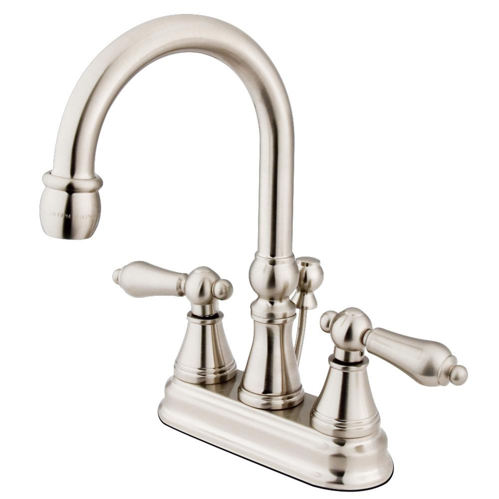 "Kingston Satin Nickel 2 Handle 4"" Centerset Bathroom Faucet w Pop-up KS2618AL"