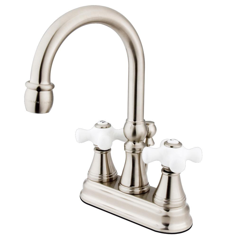 "Kingston Satin Nickel 2 Handle 4"" Centerset Bathroom Faucet w Pop-up KS2618PX"