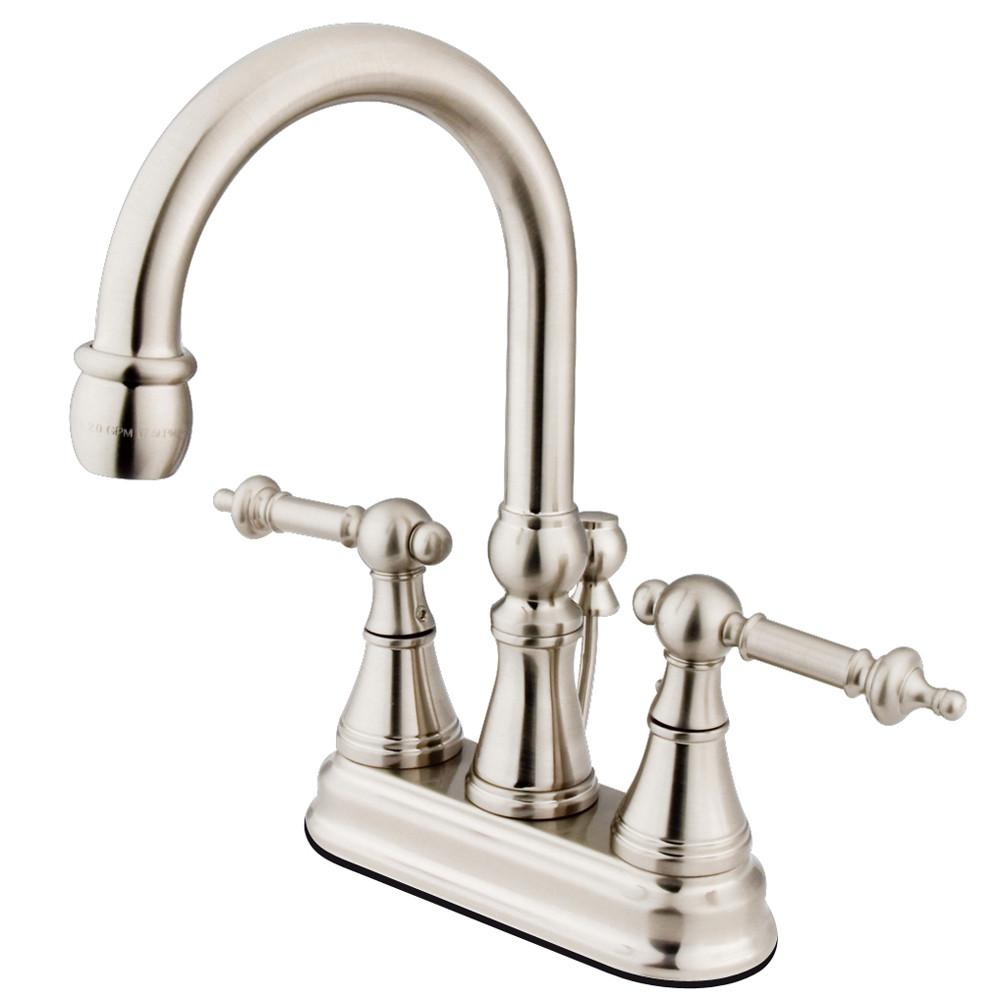 "Kingston Satin Nickel 2 Handle 4"" Centerset Bathroom Faucet w Pop-up KS2618TL"