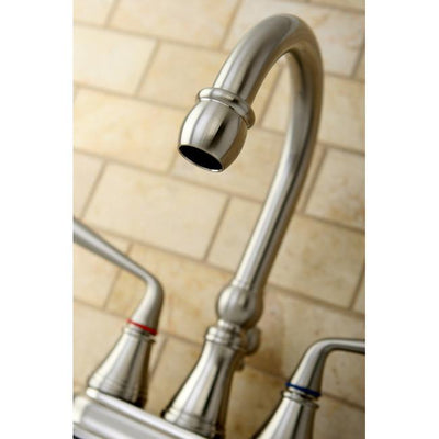 Kingston Silver Sage Satin Nickel Centerset Bathroom Faucet W Drain KS2618ZL
