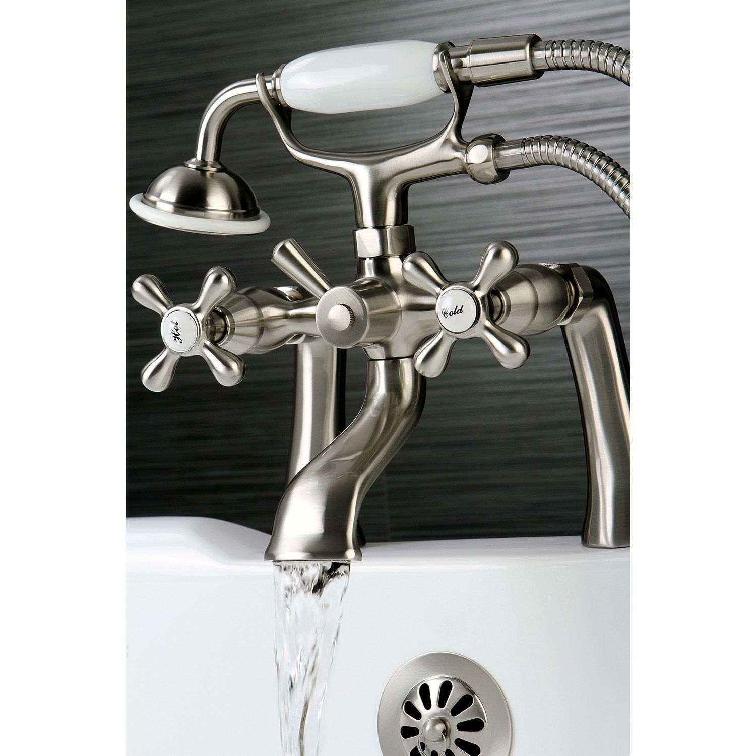 Kingston Brass Satin Nickel Deck Mount Clawfoot Tub Faucet w Hand ...