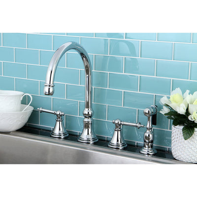 "Kingston Brass Chrome 8"" Deck Mount Kitchen Faucet with Brass Sprayer KS2791TLBS"