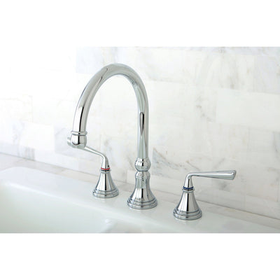 Kingston Silver Sage Chrome Widespread Kitchen Faucet Without Sprayer KS2791ZLLS