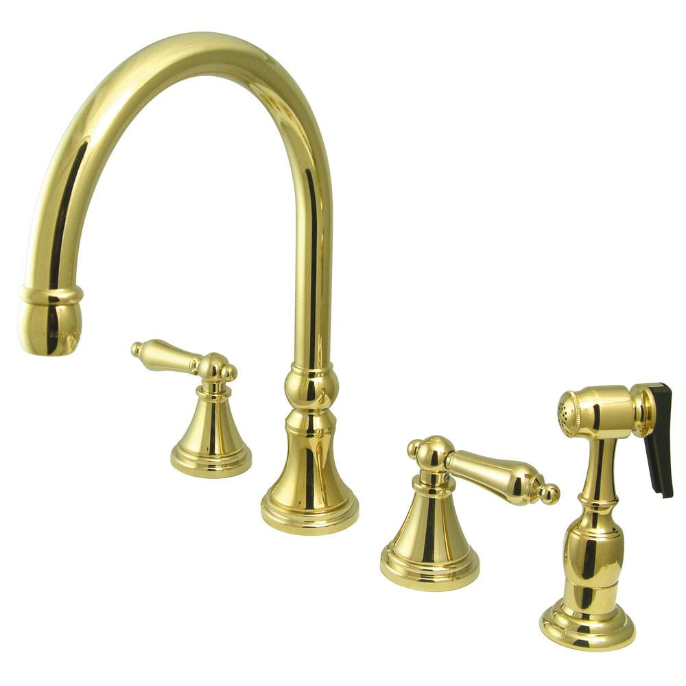 "Kingston Polished Brass 8"" Deck Mount Kitchen Faucet w Brass Sprayer KS2792ALBS"