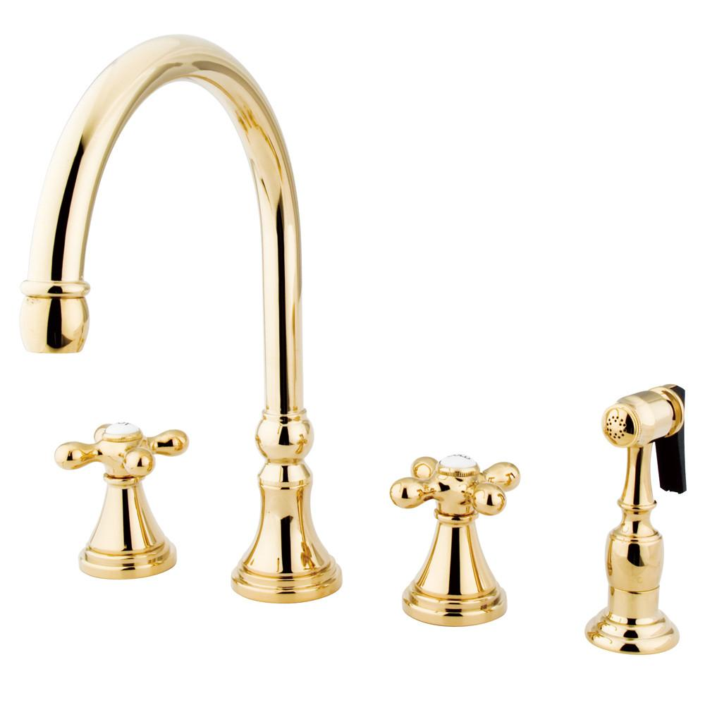 "Kingston Polished Brass 8"" Deck Mount Kitchen Faucet w Brass Sprayer KS2792AXBS"
