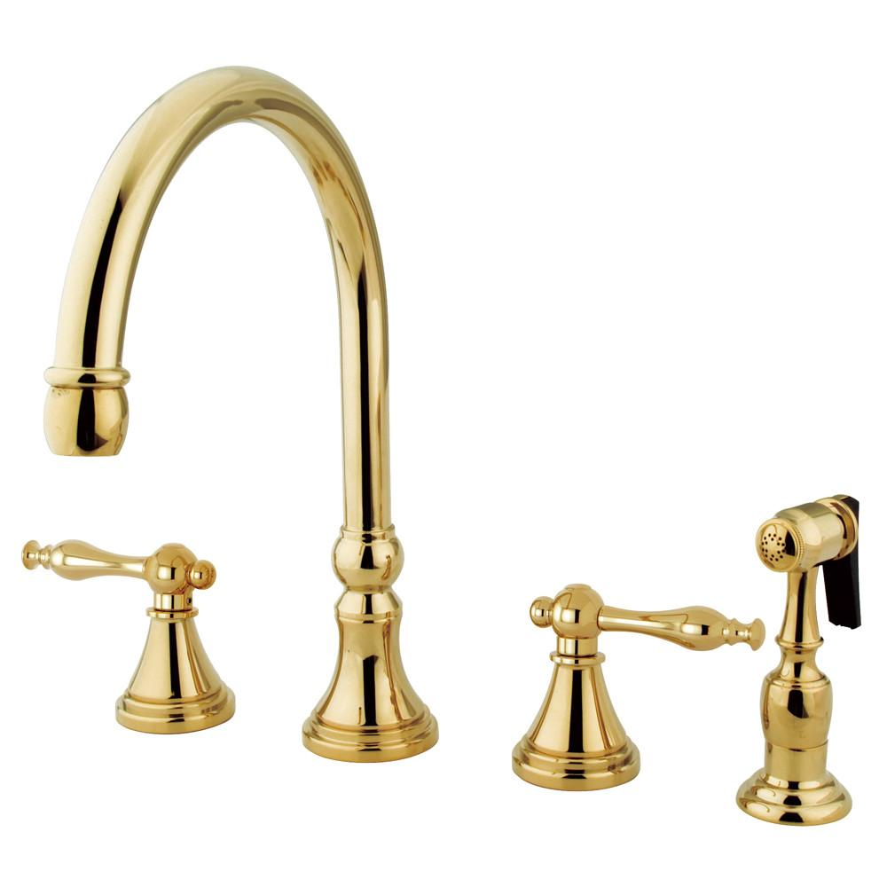 "Kingston Polished Brass 8"" Deck Mount Kitchen Faucet w Brass Sprayer KS2792NLBS"